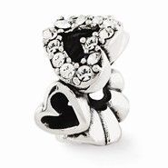 Sterling Silver Swarovski Elements Hearts Bead Charm