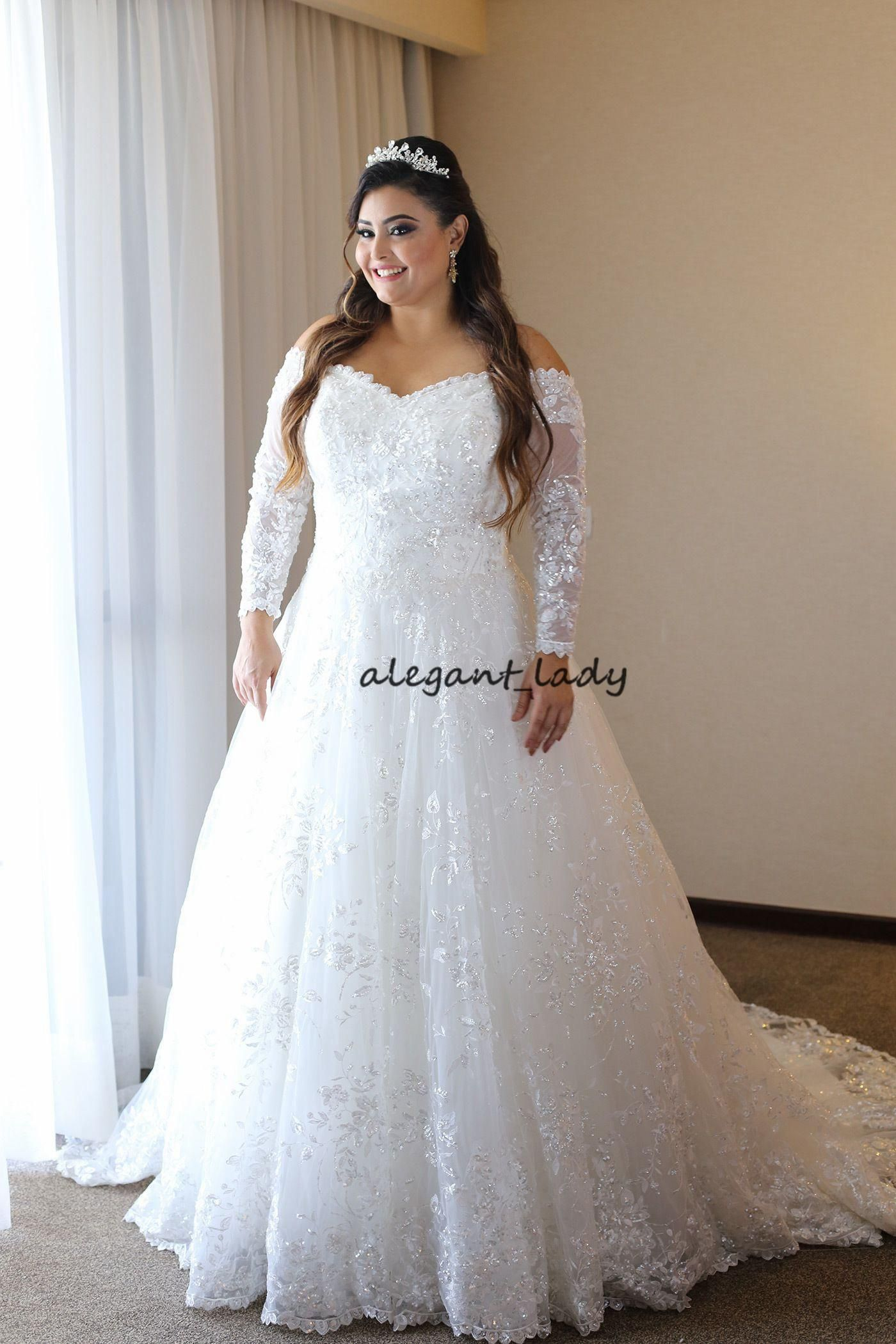 Discount plus size wedding dresses with long sleeve modest