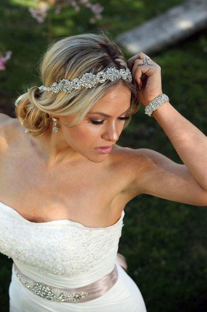 Ada Wedding bridal headpiece crystal headband headpiece satin ribbon ...