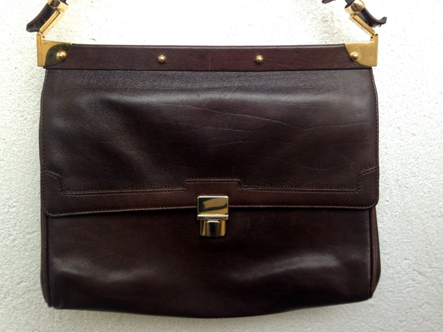 Brown Leather Satchel with Adjustable Strap 65da8d79876a1