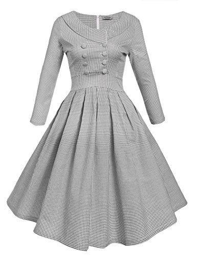 Acevog Damen 50s retro Kleid 1950er vintage Rockabilly Partykleider ...