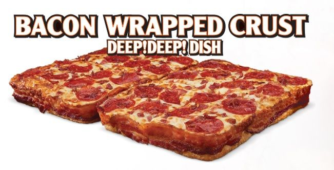 Little Caesars Bacon Wrapped Crust DEEP! DEEP! Dish Pizza | Man Reviews Food