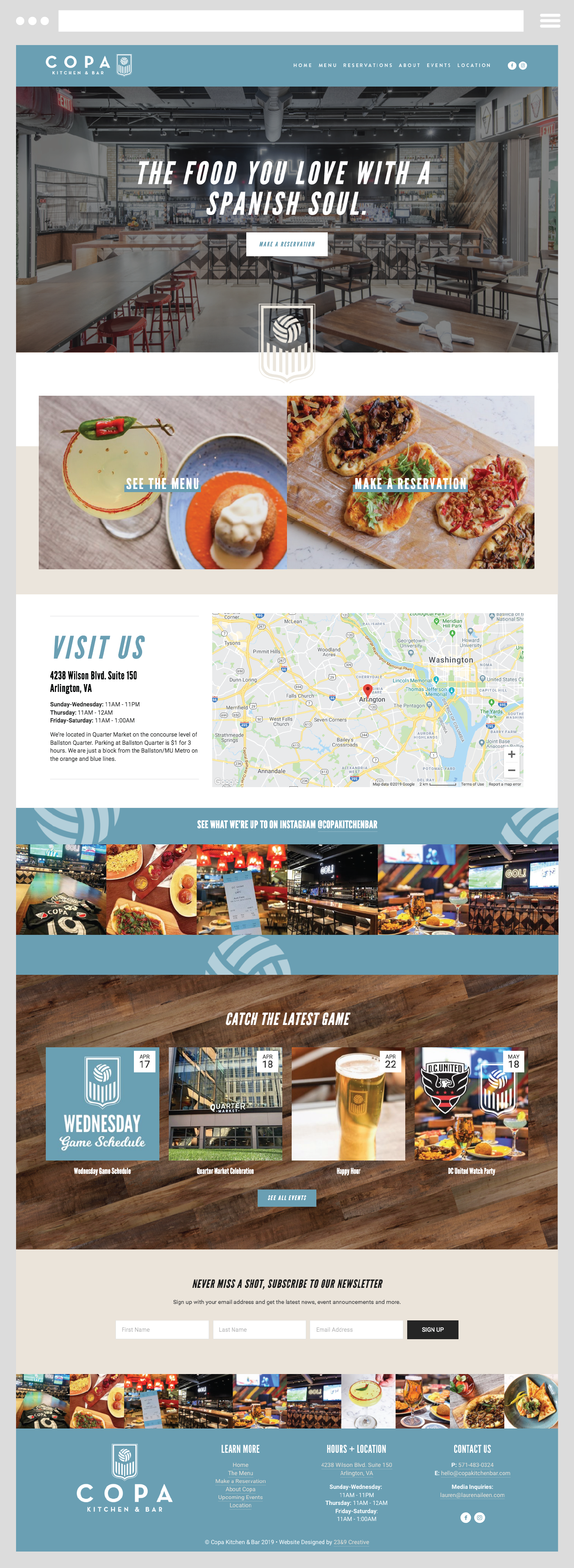 Custom Website Design By 23 9 Creative For Copa Kitchen Bar In Arlington Va In 2020 Custom Website Custom Website Design Portfolio Website