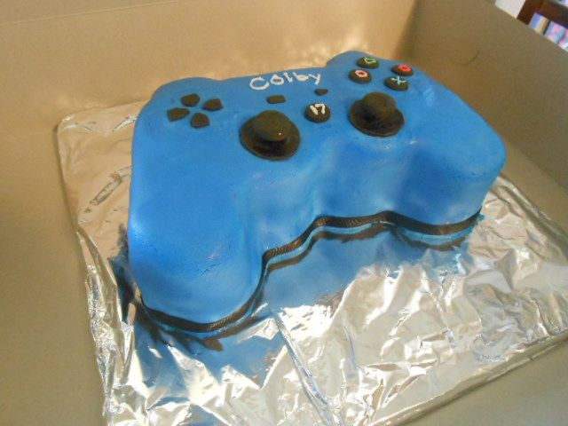 Playstation remote cake for 17th Birthday party. Very fun to make!