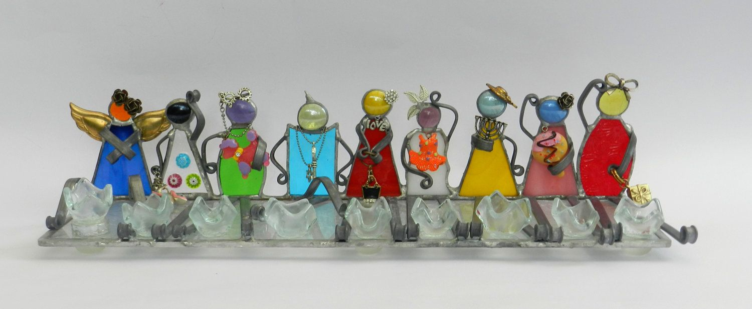 CHILDREN OF ISRAEL Stained glass handmade menorah hanukkah dalit-glass. $206.00, via Etsy.