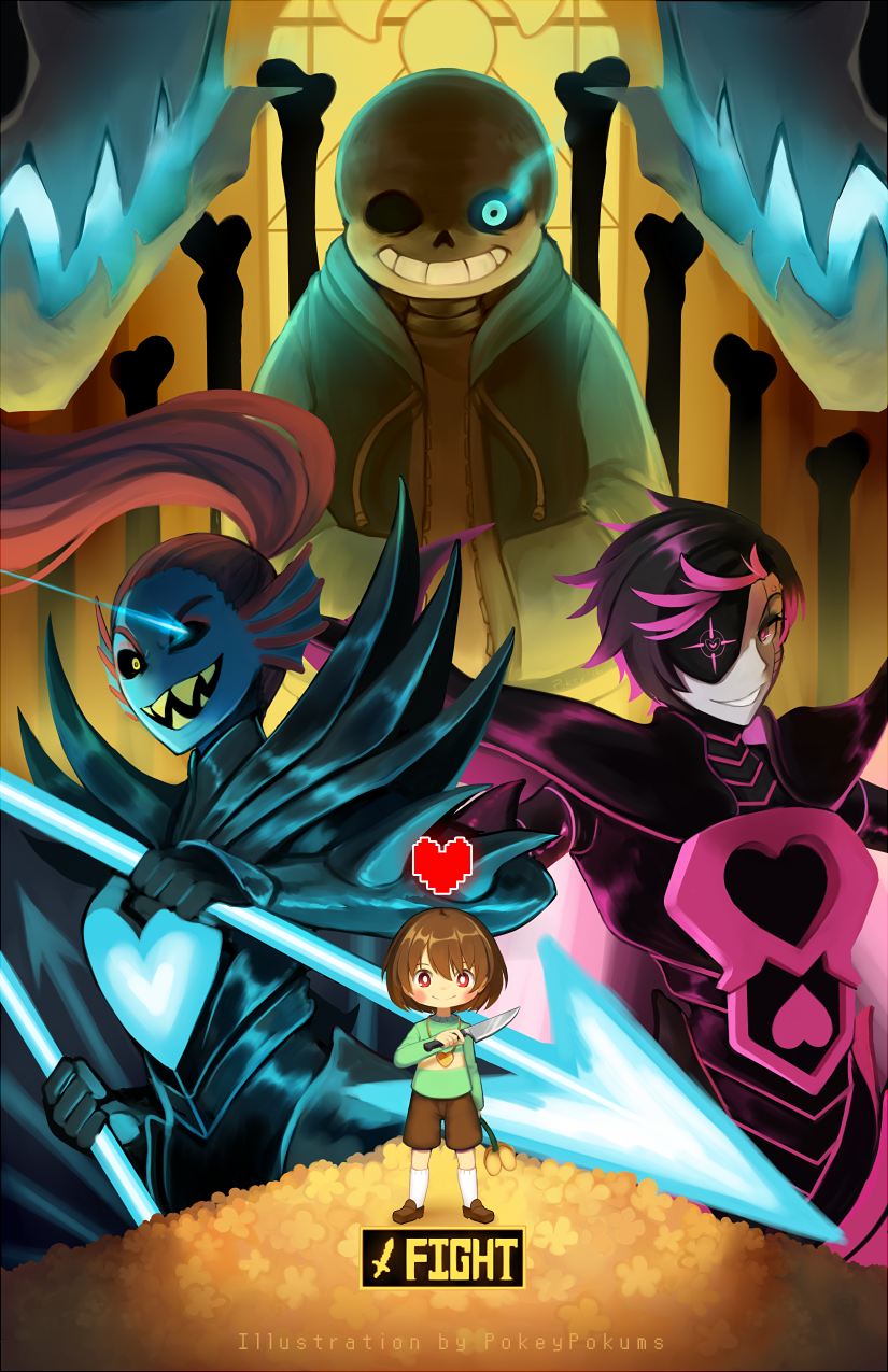 Genocide! Sans, Genocide! Undyne / Undyne the Undying, Genocide! Mettaton NEO and Genocide! Chara | Artist PokeyPokums