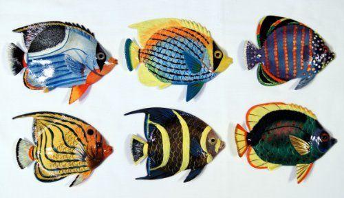 Handpainted Tropical Fish Replica Wall Mount Decor Plaque 6\