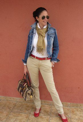Outfit pantalon beige Moda Madura 18a732d75d3