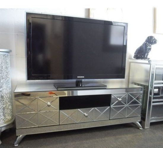 Mirrored Tv Stand Gl Cabinet Contemporary Decor Vintage Unit Modern Furniture