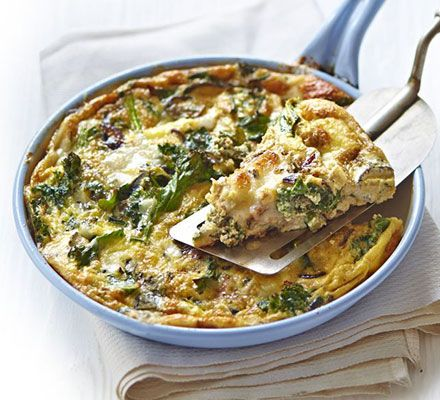 This Filled Omelette With Red Onions Curly Kale And Goat S Cheese Is Vegetarian Gluten Free And Quick Enough Frittata Bbc Good Food Recipes Cheese Frittata