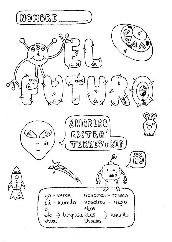 Spanish simple future tense color by conjugation fun no