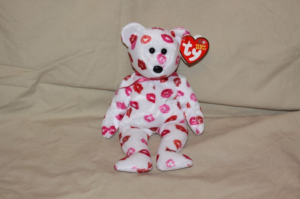Ty Beanie Baby BEAR KISSY White with Kisses 2003 Retired #Ty