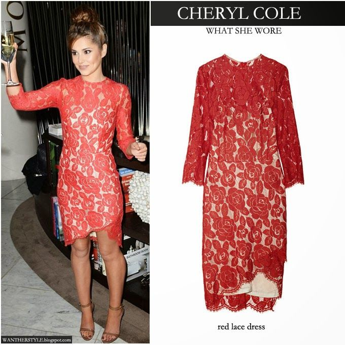 Cheryl Cole in red rosebud lace dress - Celebrity Fashion - Want ...