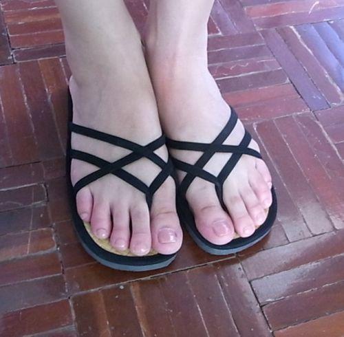 Details About Womens Flip Flops Double Black Straps -3764