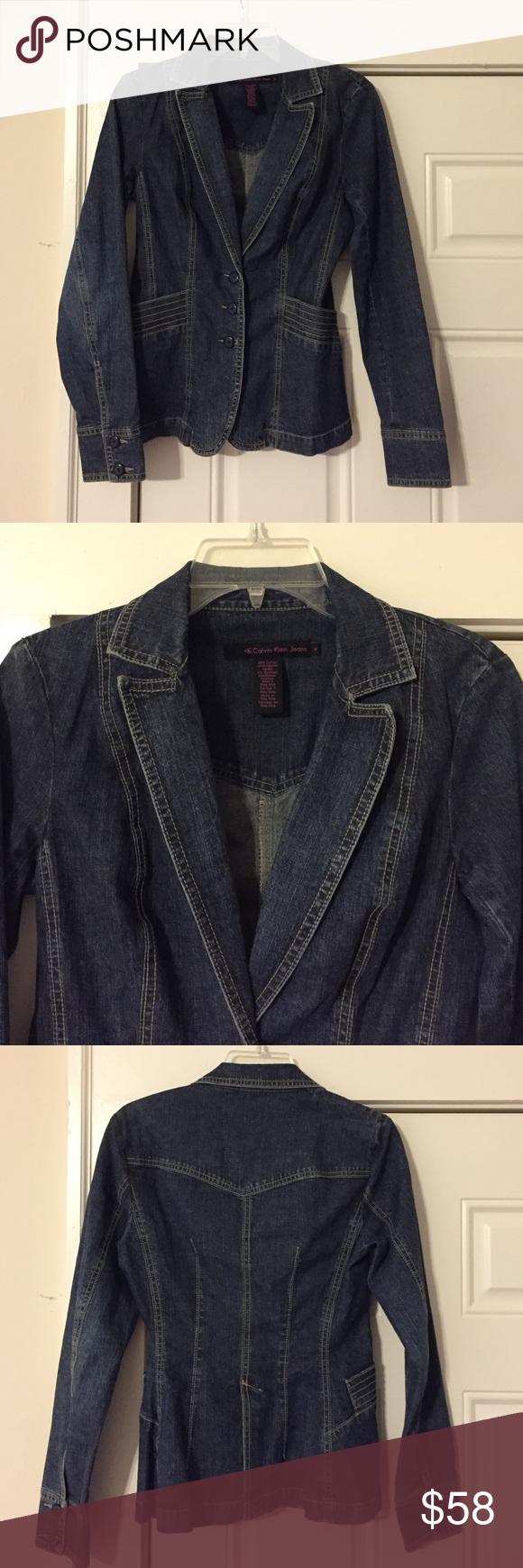 "Calvin Klein Denim Blazer Calvin Klein Jeans Denim Blazer, upgraded jean jacket!! Size Medium. No signs of wear, it's just been hanging in my closet for years. Has 2 pockets on each side. 98% Cotton, 2% Elastane. 32"" bust, 15"" shoulder, 25.5"" length Calvin Klein Jeans Jackets & Coats Jean Jackets"