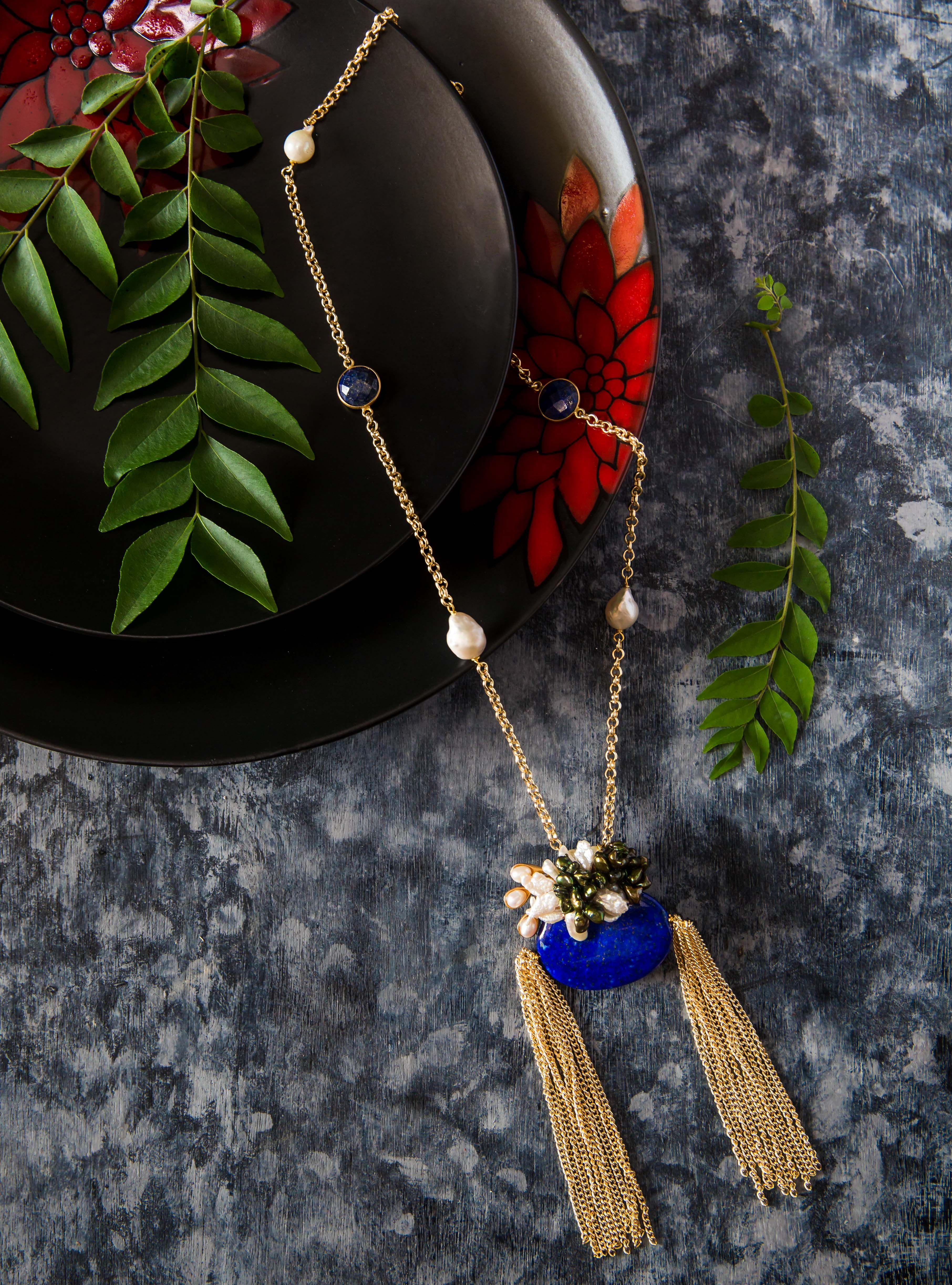 An Offbeat Take On Tassels Lapis Lazuli And Baroque