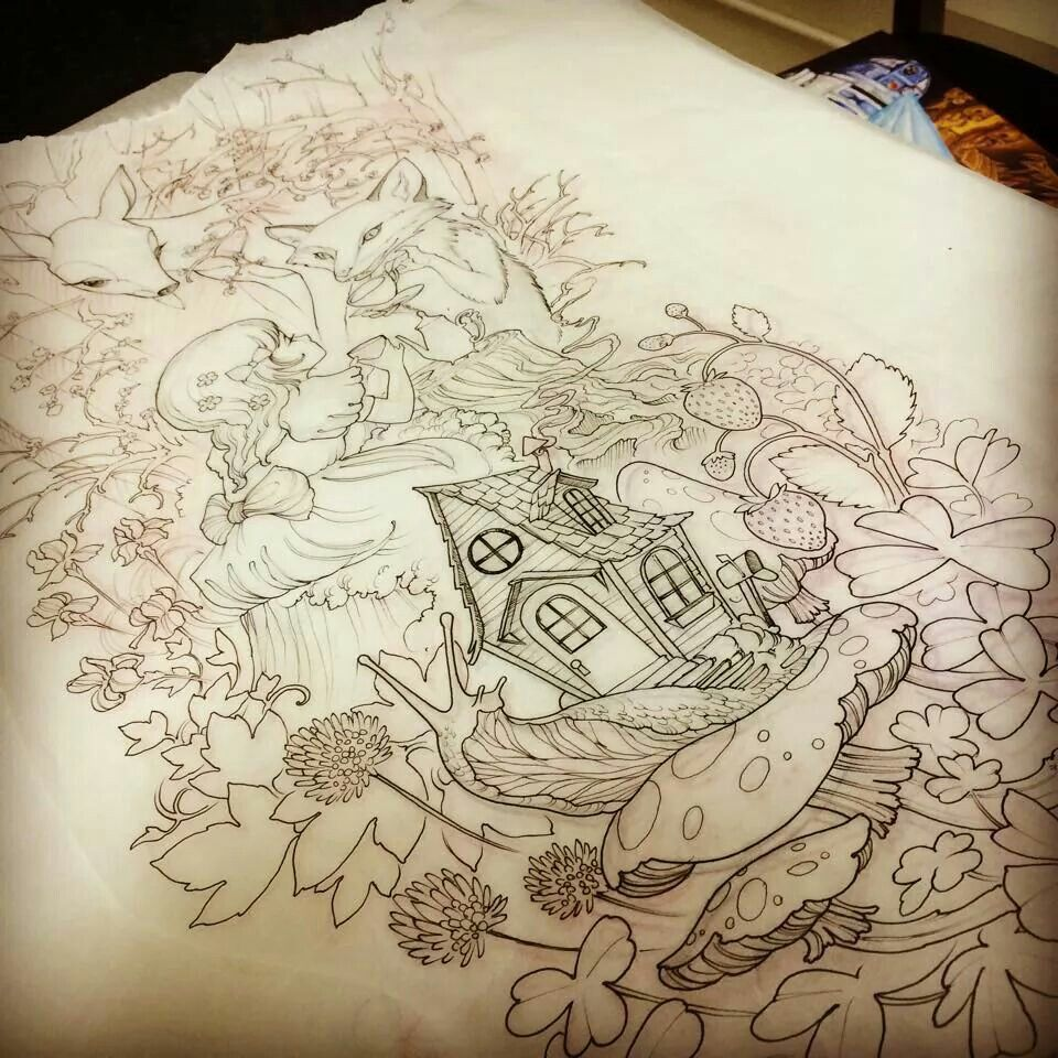 Teresa sharpe tattoo girl woodland forest mushroom snail