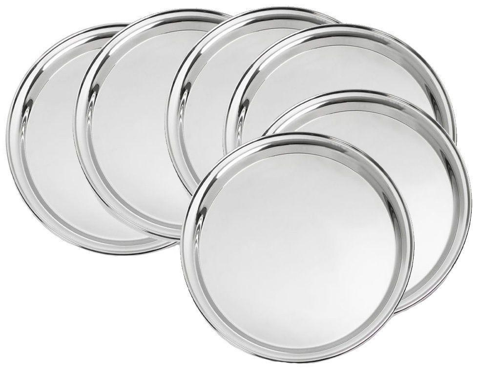 Sssilverware Stainless Steel Dinner Plate Set Set Of 6 Pc Outdoor Dinnerware Plates Stainless Steel Plate