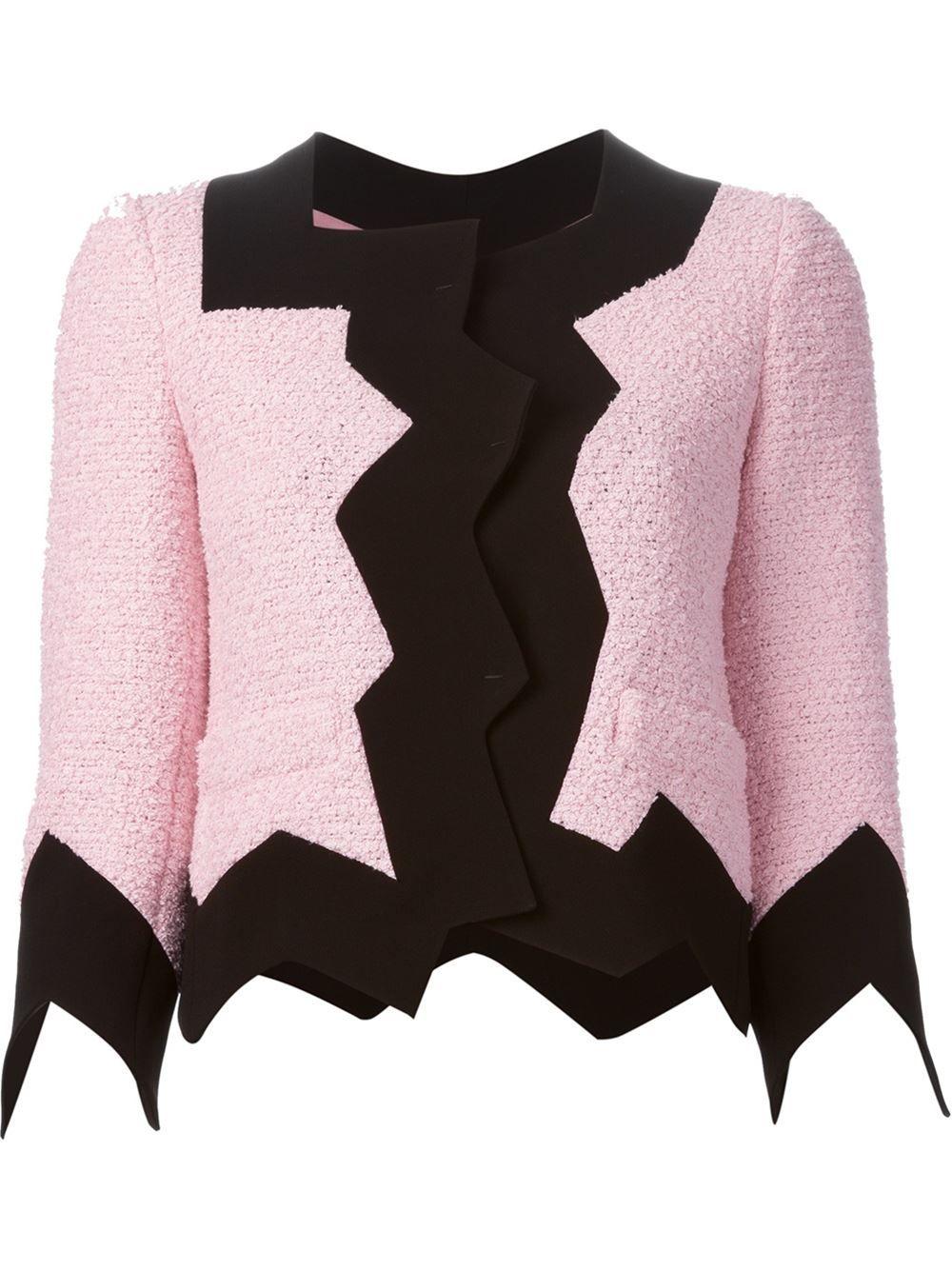 Boutique Moschino | Black Jagged Trim Bouclé Jacket | Lyst