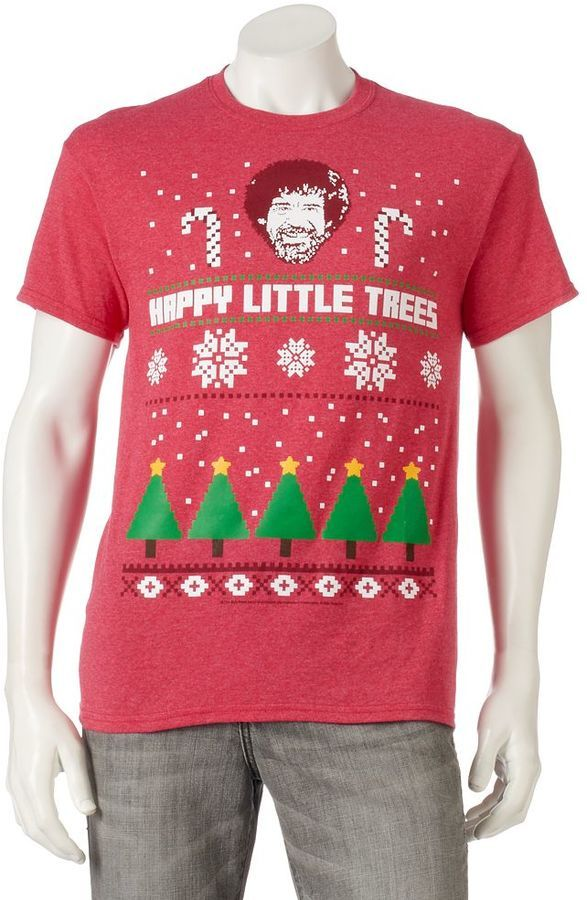 Mens Bob Ross Ugly Christmas Sweater Tee Ugly Xmas Sweaters