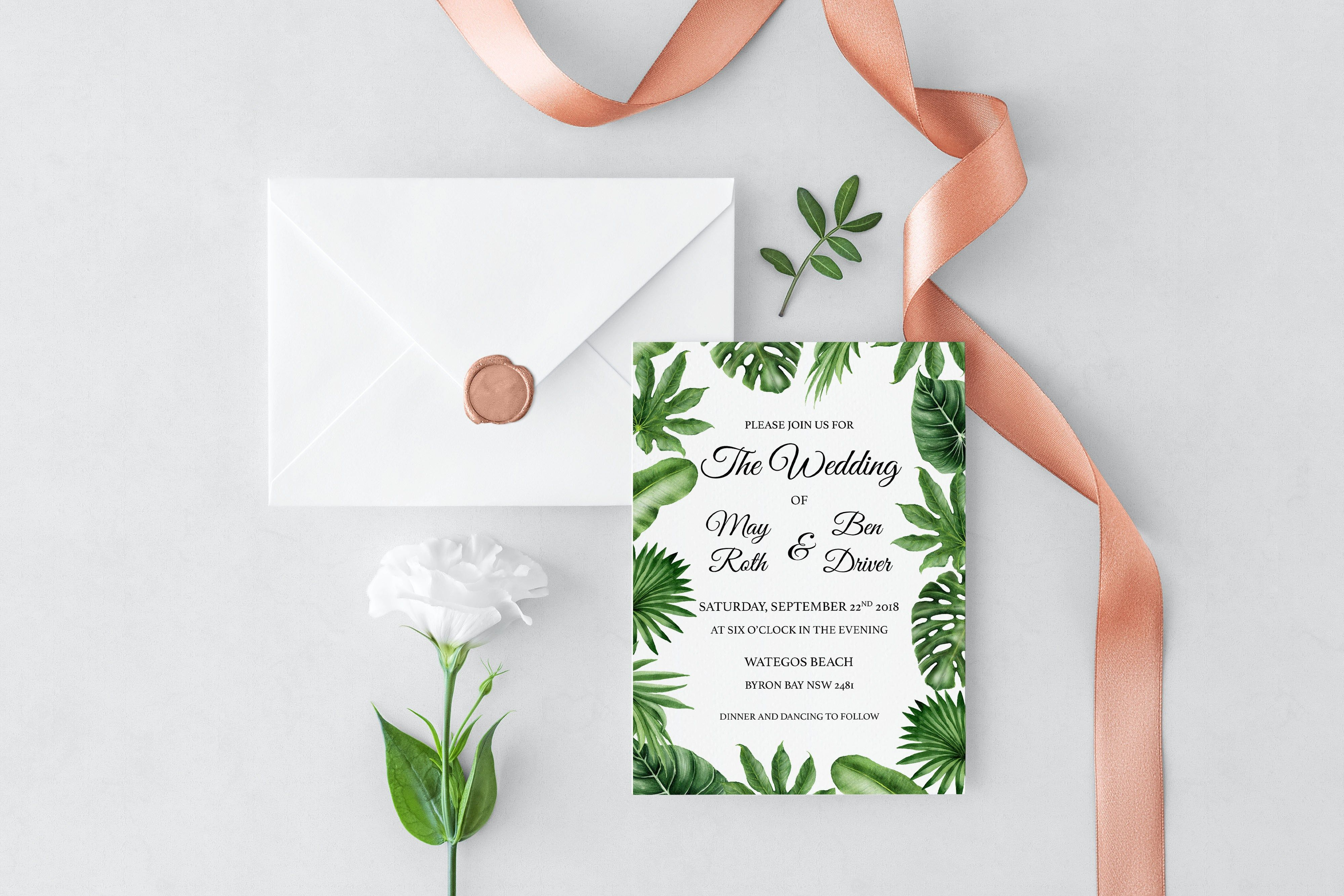 destination wedding invitation rsvp date%0A Our Tropical Leaves Wedding Invitation is the perfect design for a  boho rustic beach