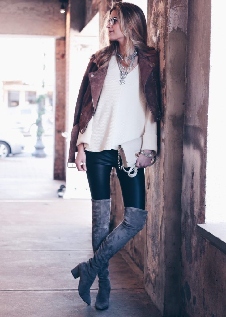 bf1932fa463b9a leather leggings outfit  over the knee suede boots and brown suede moto  jacket with white free people sweater and bib necklace