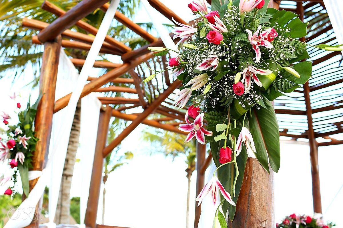 Riviera Maya Wedding At Grand Sunset Princess Beautiful Floral Decorations On The Gazebo For This