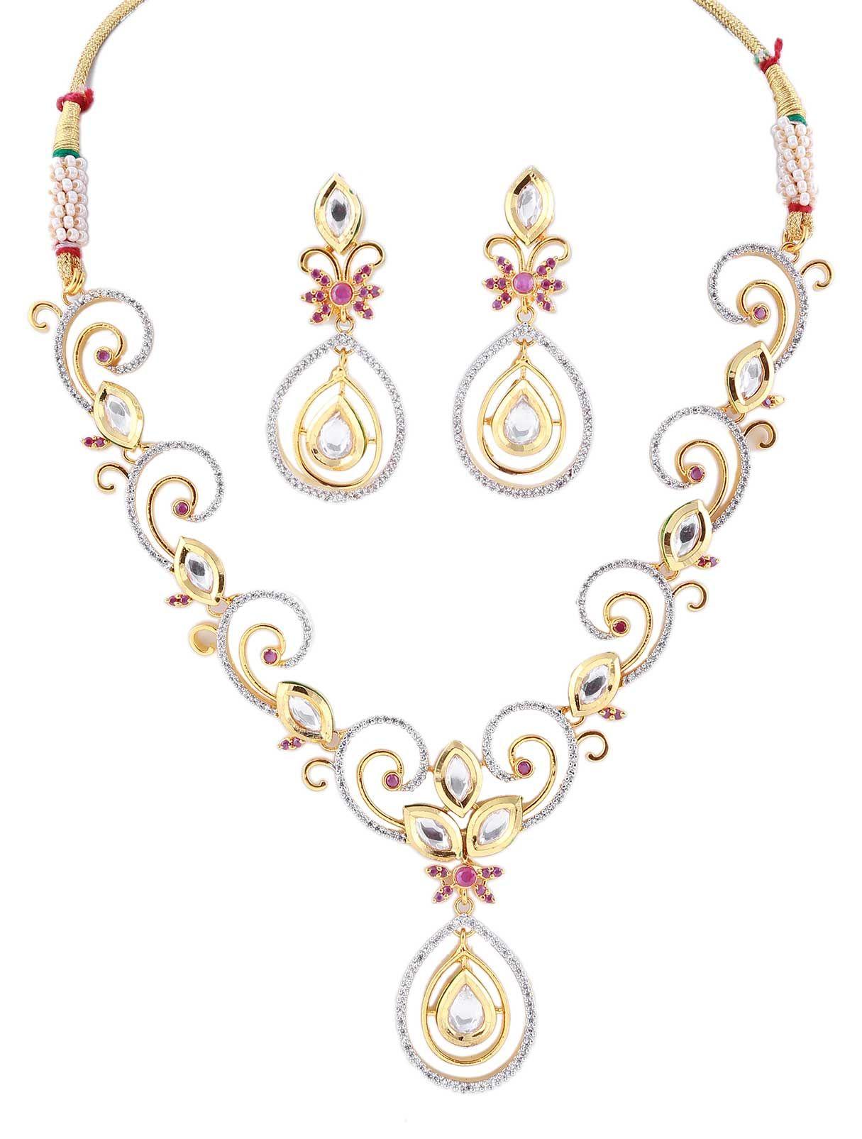 CZ Necklace Jewelry Set with Kundan Stones