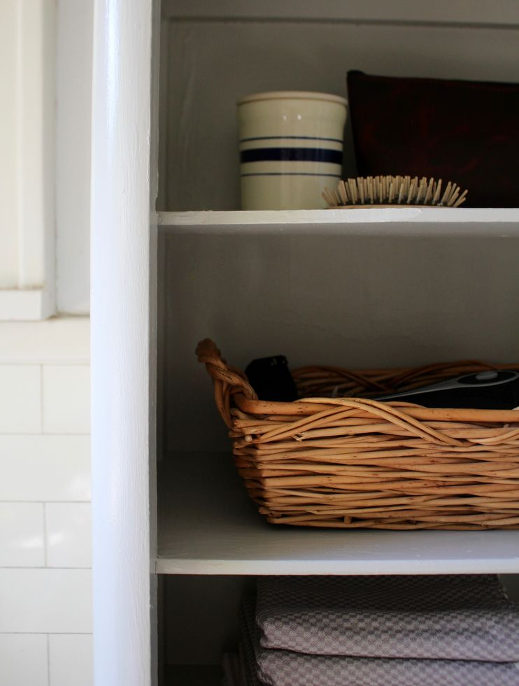 Linen Closet For Storing Zero Waste Cleaning Supplies And Reusable