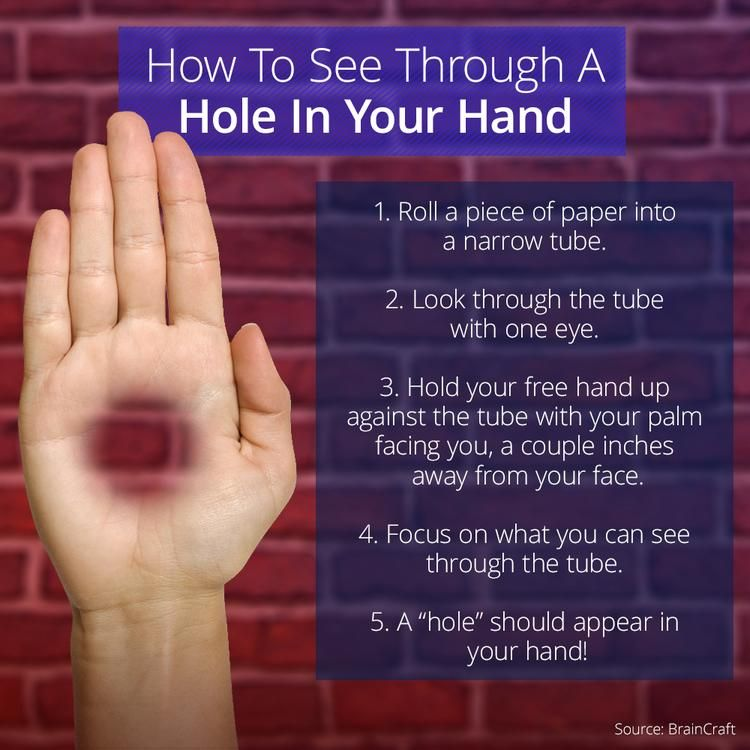 This Optical Illusion Creates A Hole In Your Hand is part of Magic illusions, Cool illusions, Optical illusions, Cool optical illusions, Eye tricks, Illusions - This optical illusion occurs because of a process called binocular rivalry  You probably don't realize it, but your eyes sometimes vie for  dominance   If