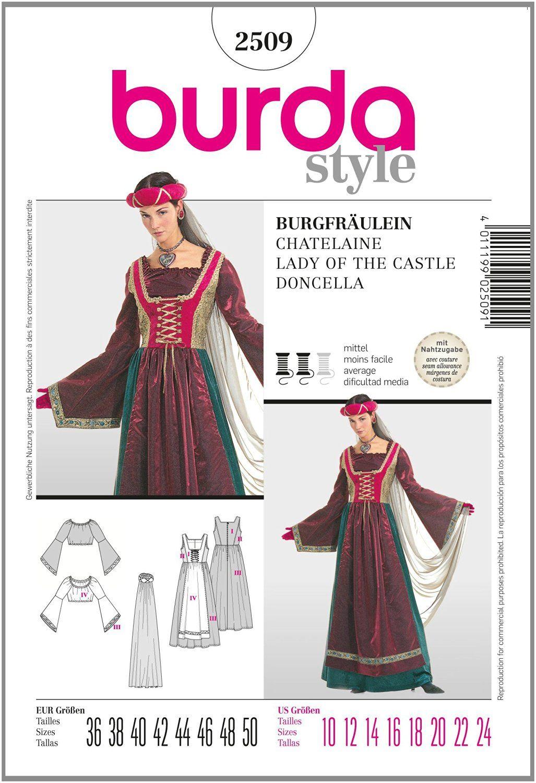 8d9f22f75365 Burda B2509 - Cartamodello per realizzare vestito da castellana ...