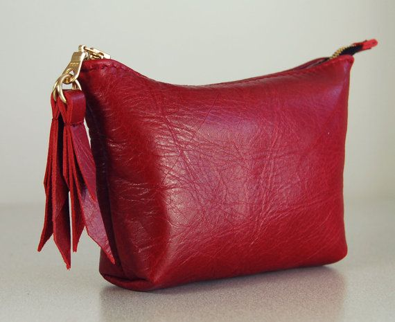 Handmade leather purse Cherry red with by delacyaccessories, $45.00