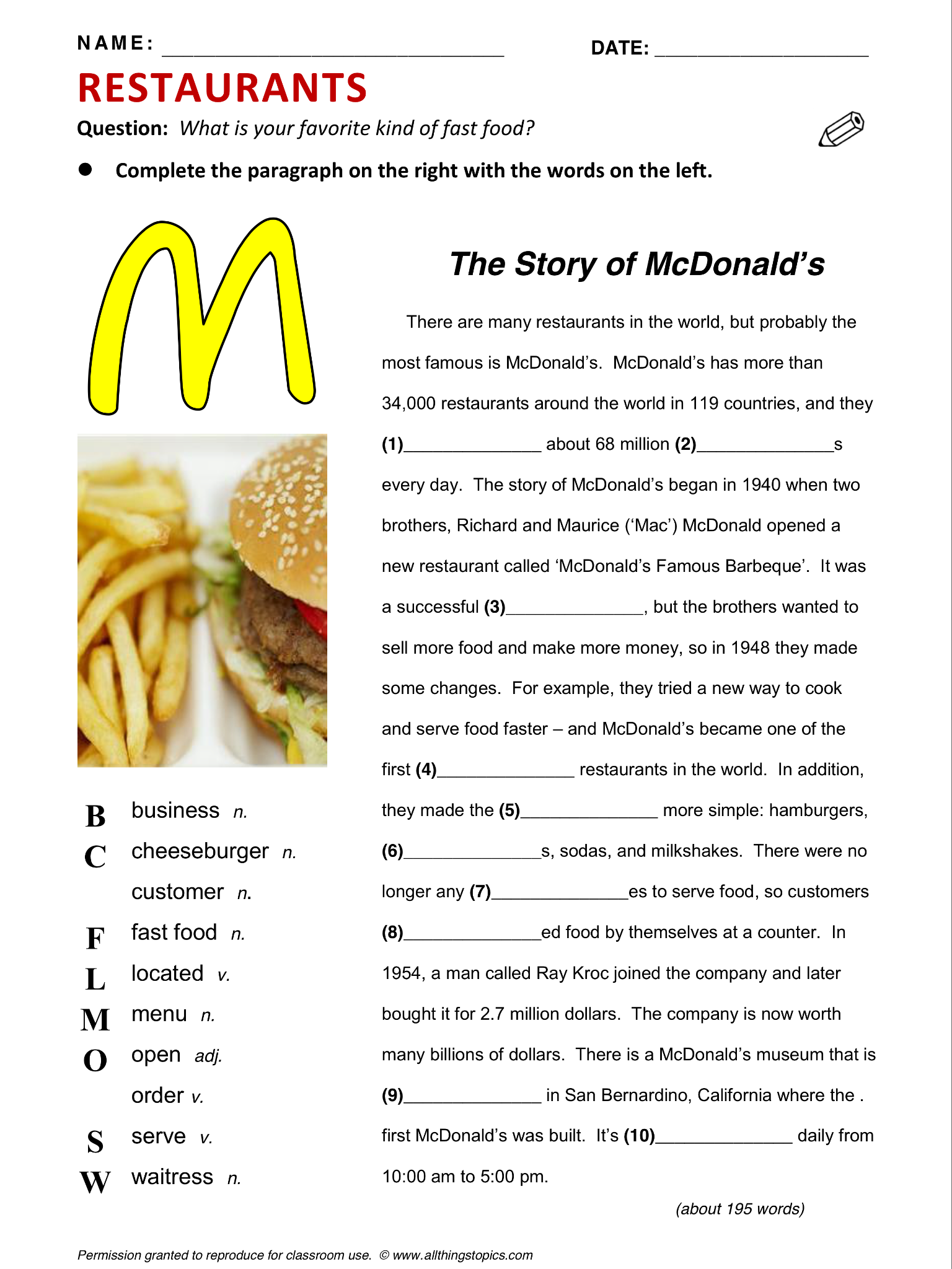 at the restaurant vocabulary pdf