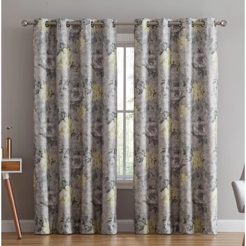 One Allium Way Enzo Floral Flower Max Blackout Thermal Grommet Curtain Panels Reviews Wayfair Grommet Curtains Panel Curtains Colorful Curtains