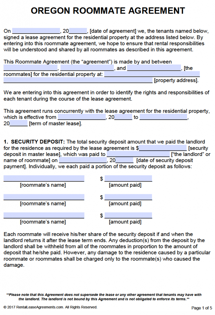 Free Oregon Roommate Agreement Template  Pdf  Word  Rental Room