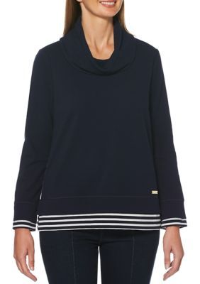 Rafaella Petite Stripe Long Sleeve Cowl Neck Top #stripedlongsleevetops