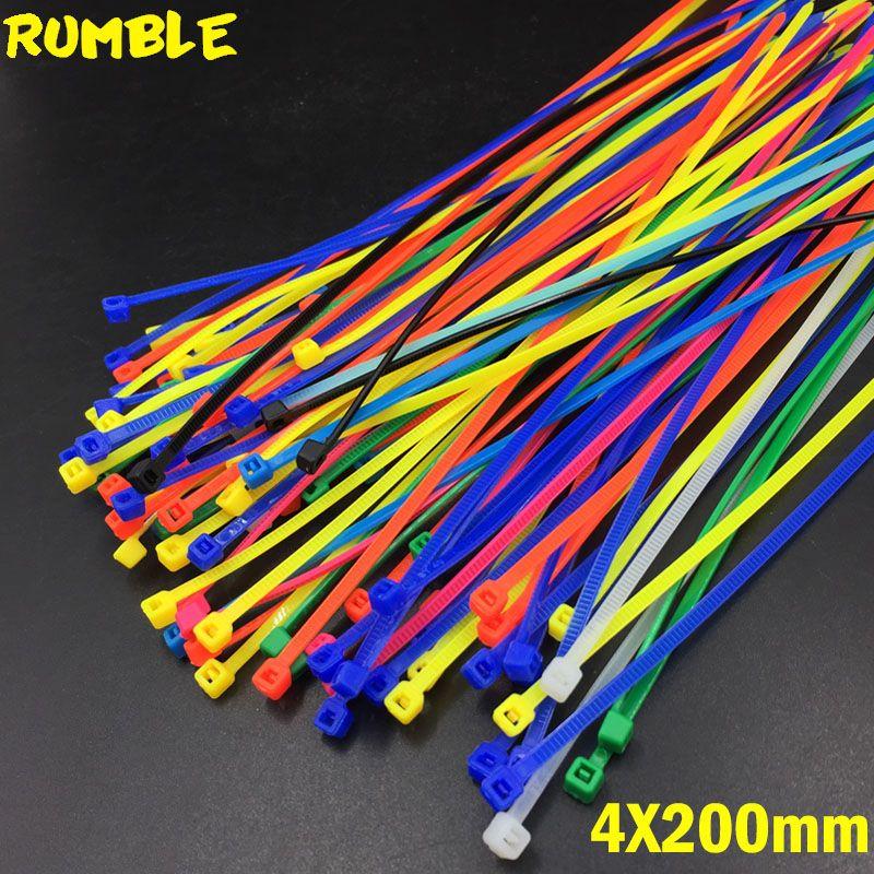 4X200MM Self-Locking Plastic Nylon Wire Cable Zip Ties 100pcs Mix ...