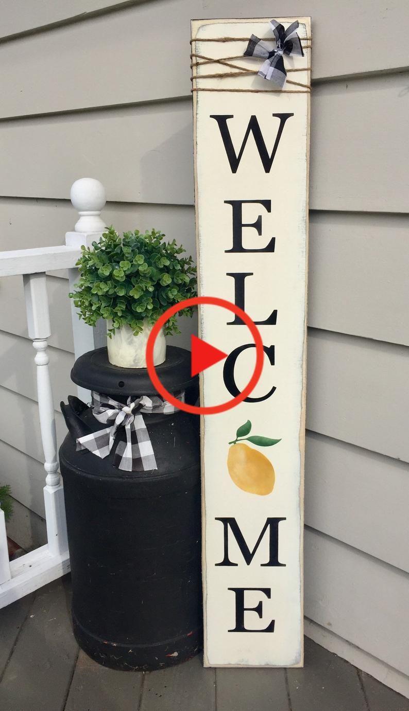 Lemon welcome sign, lemon decor, sign with lemon, lemon porch sign, summer welcome #homedecor