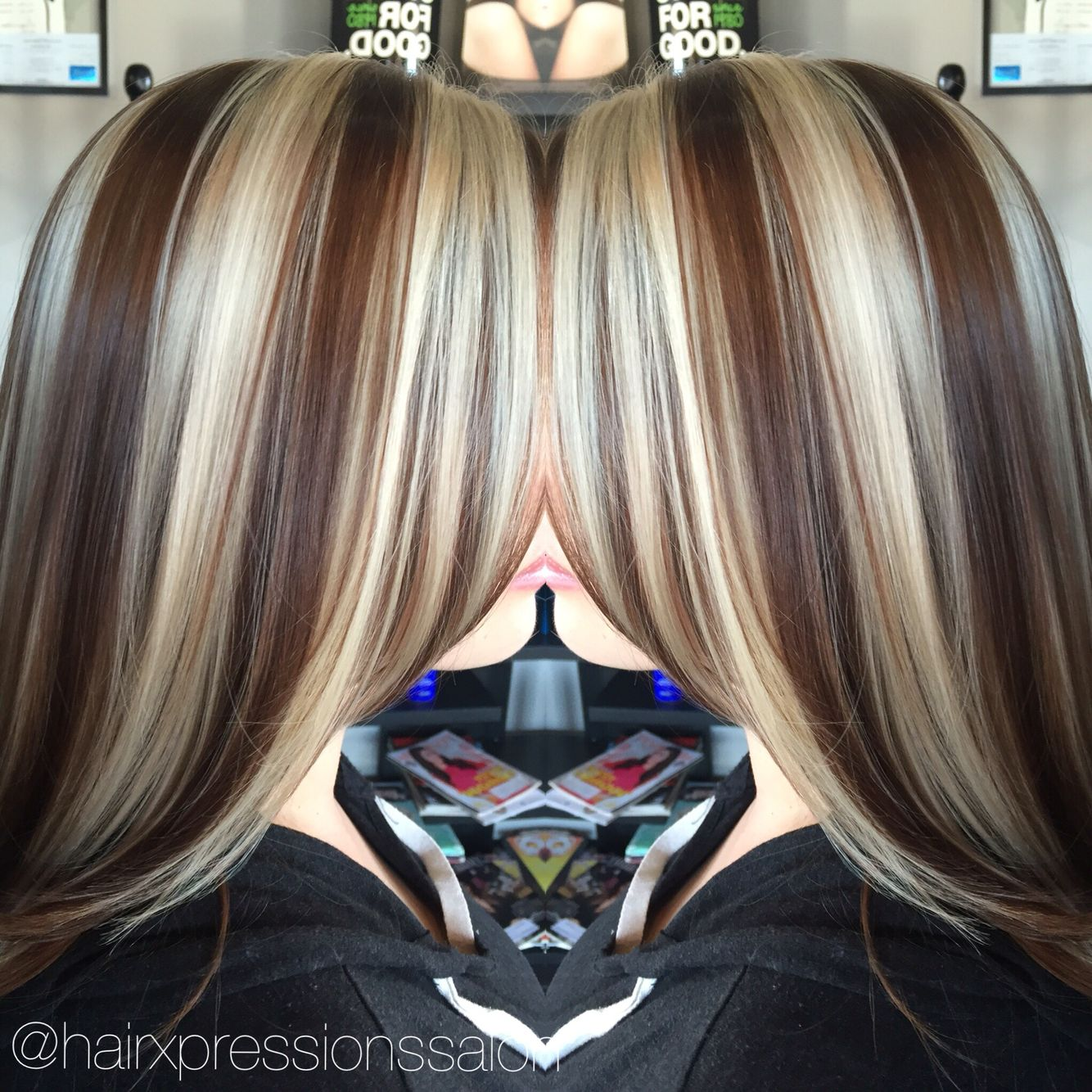 Hairxpressionssalonlv Chunky Highlightsgolden Brown Base Hair
