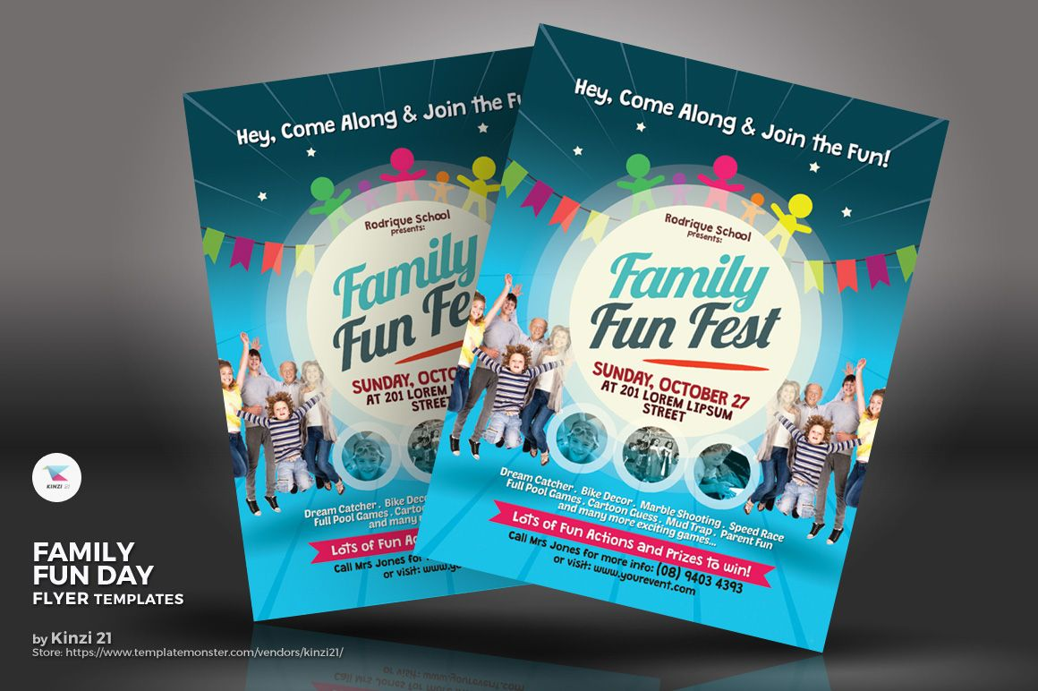 family fun day flyer corporate identity template industrial design