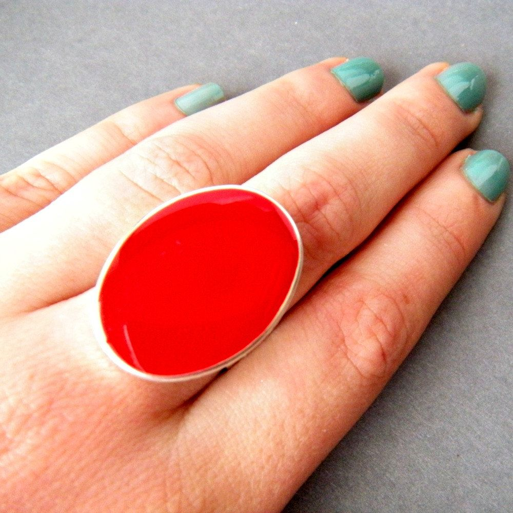 Red Oval Statement Ring, Resin, Adjustable, Cocktail Ring,