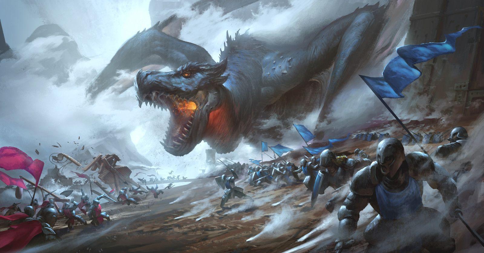 картинки нападающие драконы рыцари мира