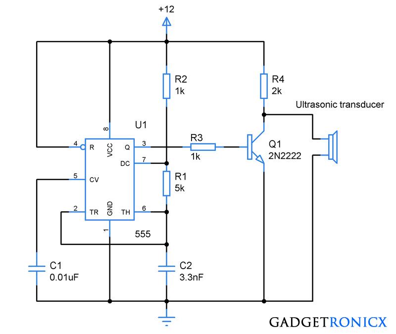 ultrasonic transmitter circuit using ic 555 electronics rh pinterest com