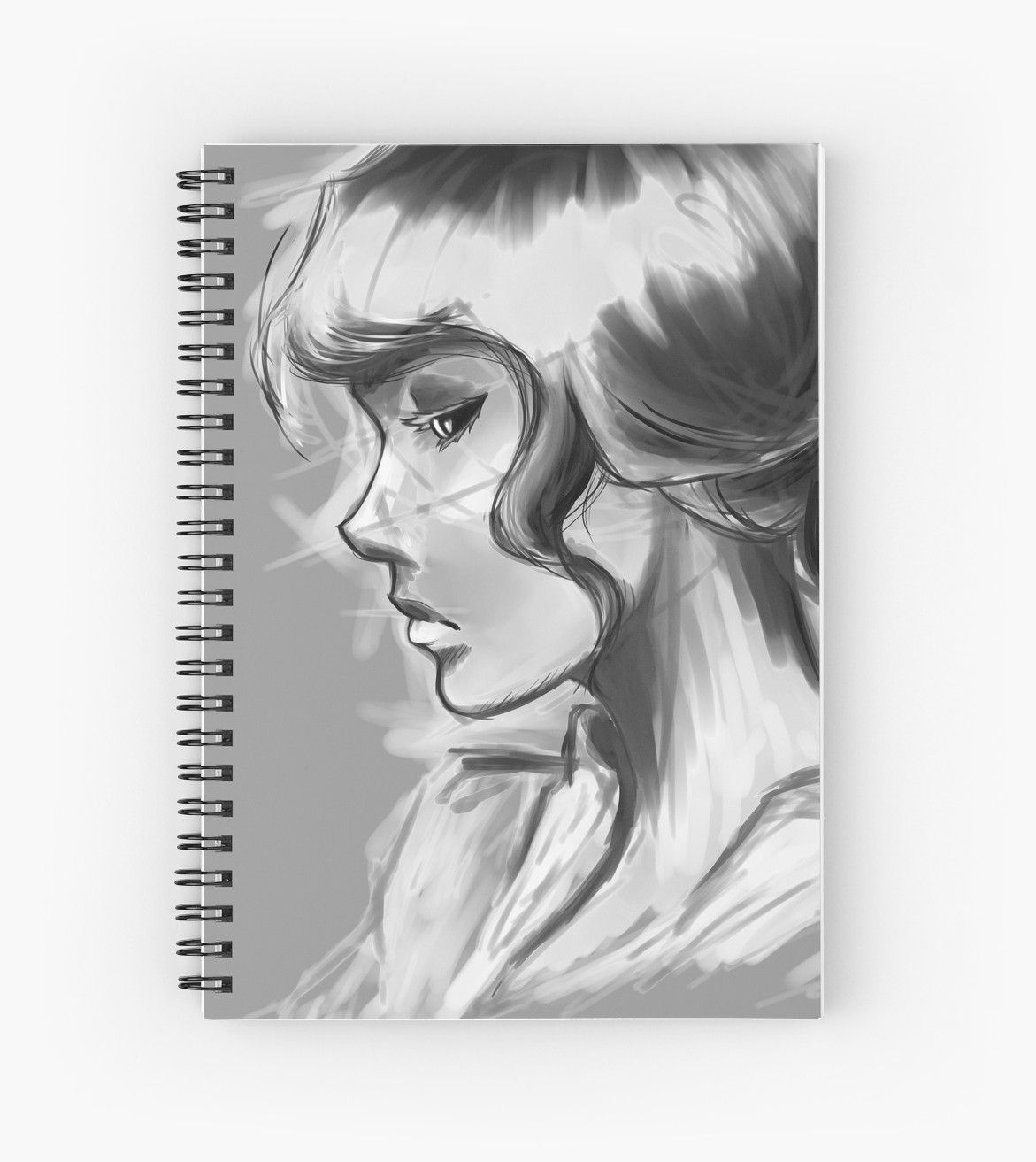 girl profile anime portrait black and white sketchy spiral