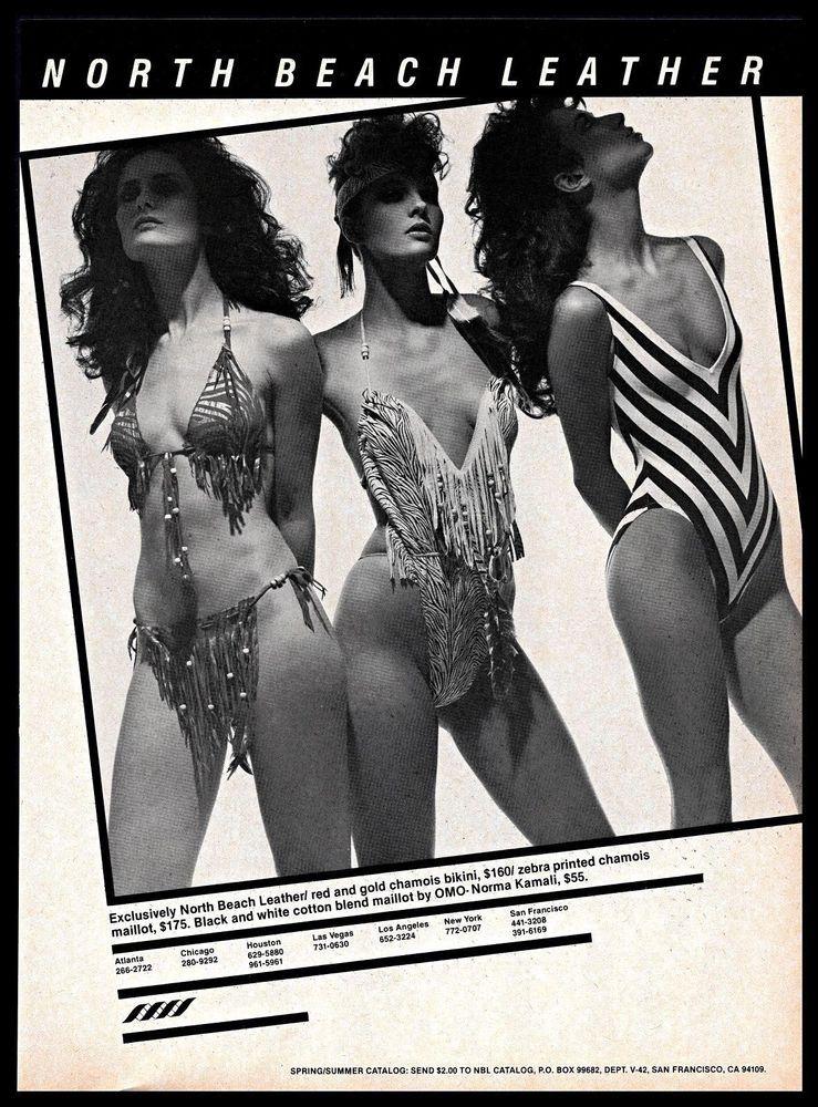 ffe8763b22 1982 North Beach Leather  Chamois  Bikini  Zebra  Swimsuit  B W  Vintage   1980s  Ad  NorthBeachLeather