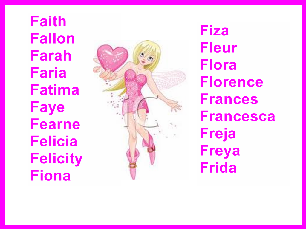 Girls names starting with F Where they come from and what