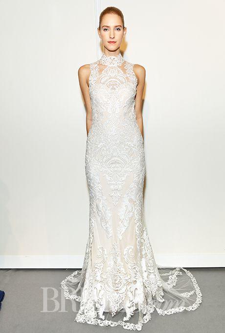 Brides: Gemy Maalouf - Fall 2015. Sleeveless high neck sheath lace ...