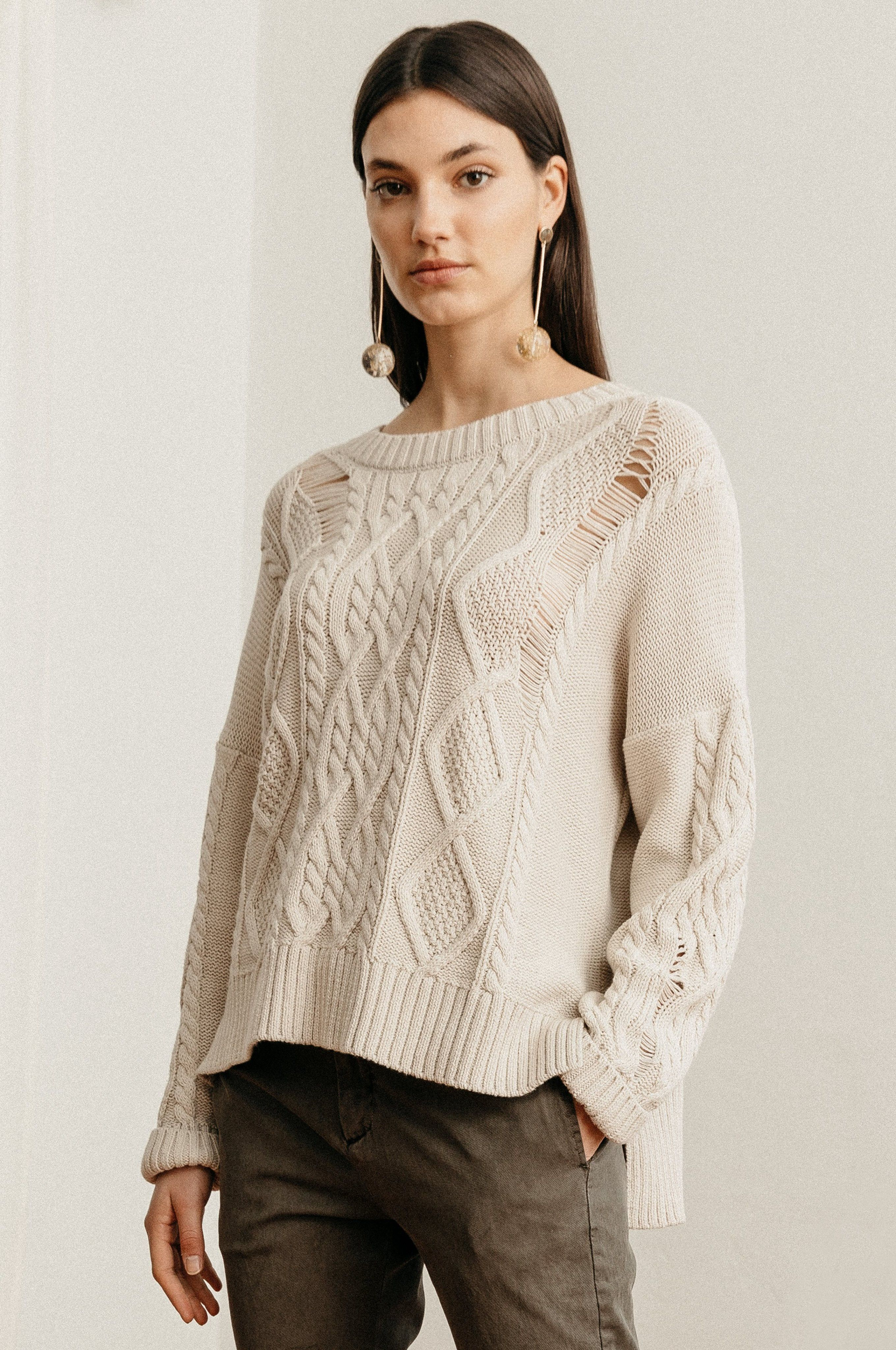 753dba3bd4e Rails Cambria - Ecru L Knitwear, Pullover, Knitting, Long Sleeve, Cotton,
