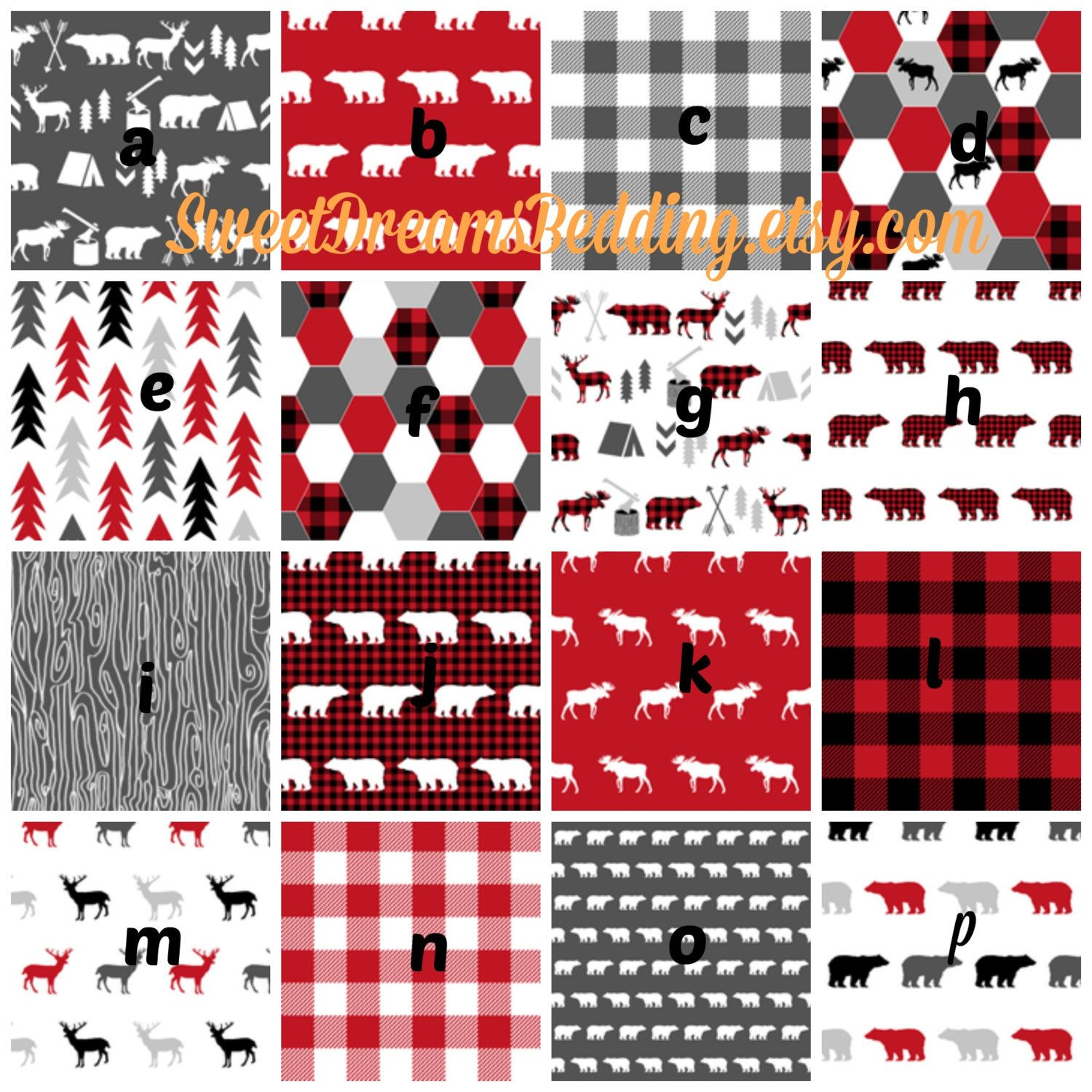 Crib Bedding Woodland Deer Crib Bedding Red Black buffalo plaid deer, bear. Customize : crib sheet, changing cover, skirt, bumper, blanket by SweetDreamsBedding on Etsy