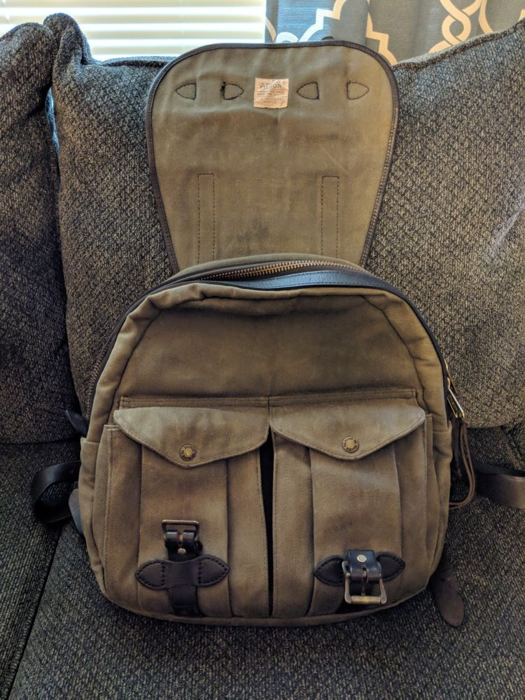 Filson Rugged Twill Rucksack Otter Green Backpack 250 Fashion Clothing Shoes Accessories Mensaccessories Bags Ebay Green Backpacks Rucksack Backpacks